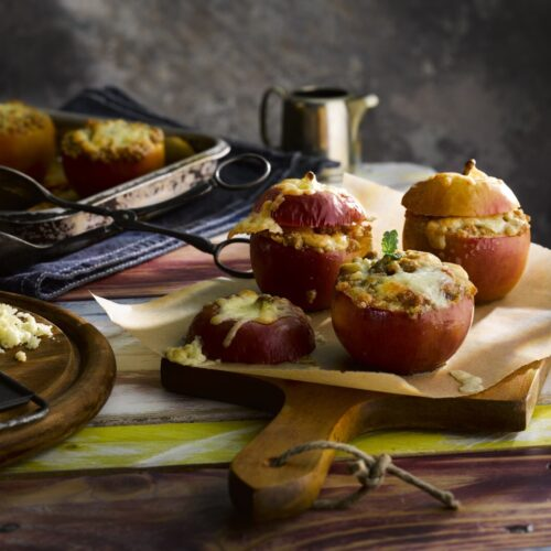 Cavern Aged Cheddar with Penderyn Whisky Topped Baked Apples