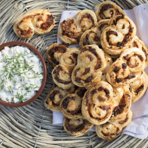 Tomato & Thyme Palmiers with Cheddar and chive mayonnaise
