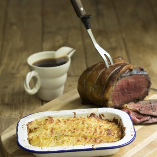 Sirlon of Welsh Beef with Vintage and Leek cheddar potato gratin